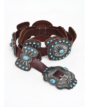 Sterling Silver Concho Belt with Turquoise by K. Smith (Navajo)
