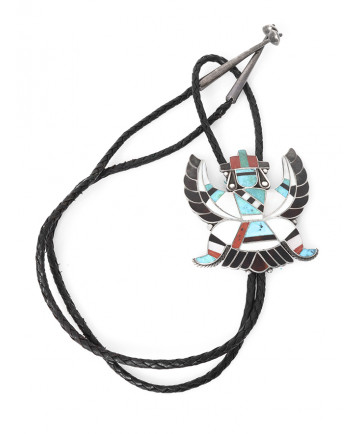 Inlay Knife Wing Bolo Tie by an Unknown Artist (Zuni)