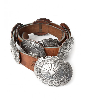 Sterling silver stamped concho belt by Alberto Platero (Navajo)