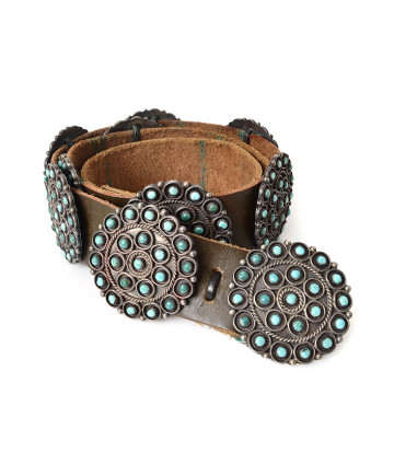 Turquoise cluster concho belt by an unknown artist