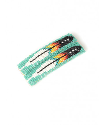 Feather beaded barrettes by an unknown artist