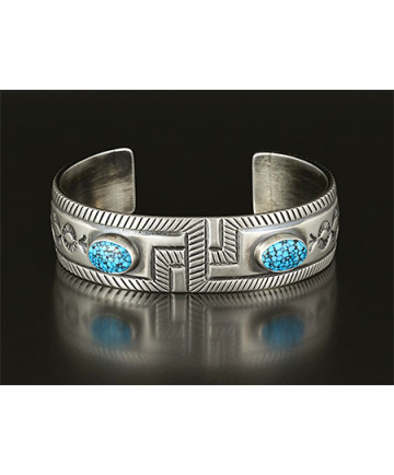 Silver & Turquoise Bracelet by Allison Lee (Navajo)