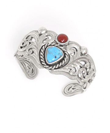 Turquoise and Coral Bracelet by Shane Hendren (Navajo)