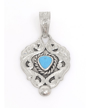 Sterling Silver Pendant with Turquoise by Shane Hendren (Navajo)