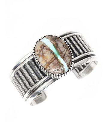 Royston turquoise bracelet by Bryan Joe (Navajo)