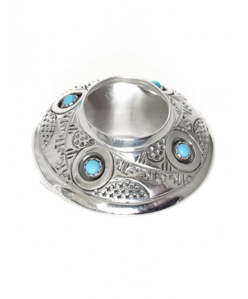 Miniature sterling silver pot with turquoise by Wesley Whitman (Navajo)