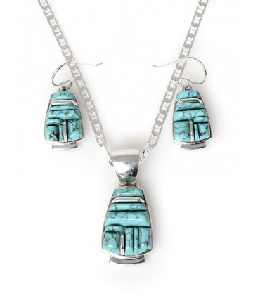 #8 turquoise necklace & earring set by Kenneth Bitsie (Navajo)