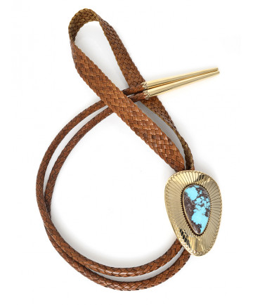 14K & Bisbee turquoise bolo tie by A. McCabe (Navajo)
