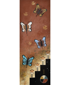 """Butterfly Emergence"" sand painting by Zachariah Ben (Navajo)"