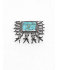 Turquoise Pin by Perry Shorty (Navajo)