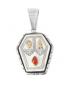 Sterling silver/14K/coral pendant by Emer Thompson (Navajo)