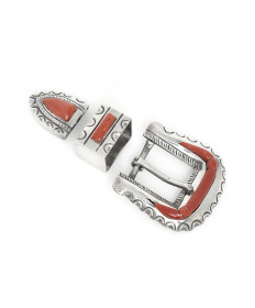 Sterling Silver Bucklet Set with Coral by an Unknown Artist