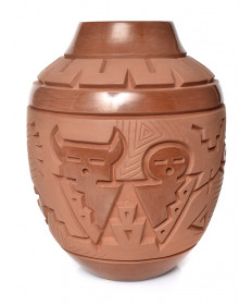Carved redware pottery by Harrison Begay (Navajo)