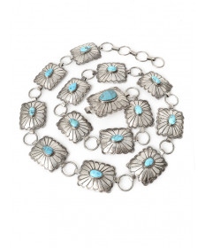 Sterling silver & turquoise concho belt by unknown artist (Navajo)