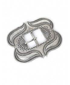 Coin Silver Belt Buckle by Perry Shorty (Navajo)