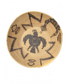 Snake & eagle motif Mission basket by an unknown artist