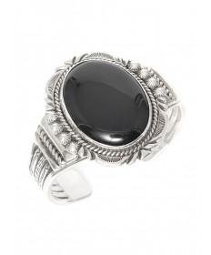 Sterling silver & onyx bracelet by Jeanette Dale (Navajo)