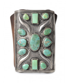 c. 1910 turquoise bow guard by an unknown aritst