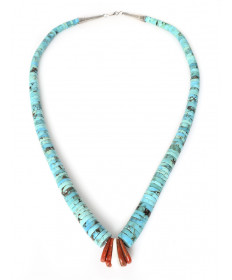 Turquoise & coral necklace by an unknown artist (Santo Domingo)