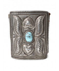 Vintage leather & turquoise bow guard by an unknown artist
