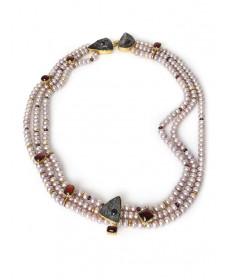 3-strand pearl necklace by Gail Bird & Yazzie Johnson (Santo Domingo/Navajo)