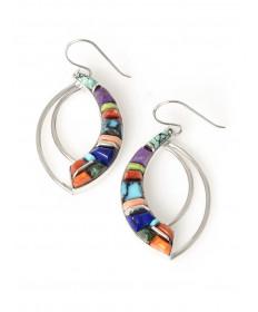 Multi-stone earrings by Kenneth Bitsue (Navajo)