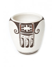 Eagle tail pottery vase by Dextra Quotskuyva (Hopi)