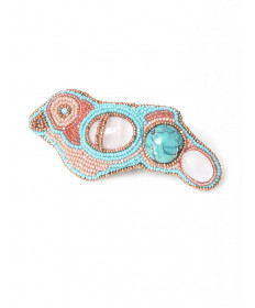 Beaded bird ring with rose quartz & turquoise by Jovanna Poblano (Zuni)