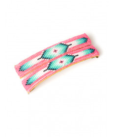 Pink beaded barrettes by an unknown artist