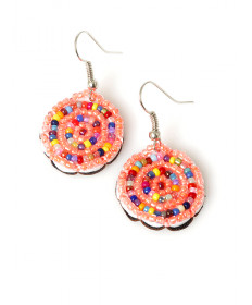 Multi-color beaded earrings by Martina Whitehair (Navajo)