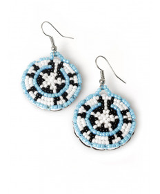 Beaded basket earrings by Martina Whitehair (Navajo)