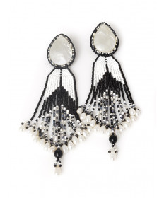 Mother of pearl beaded earrings by Jovanna Poblano (Zuni)