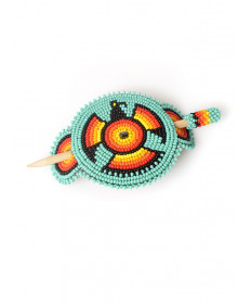Beaded eagle hair piece by an unknown artist (Navajo)