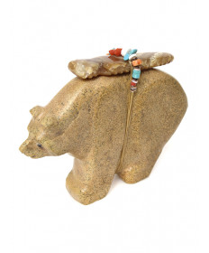 Travertine bear fetish carving by Fred Bowannie (Zuni)