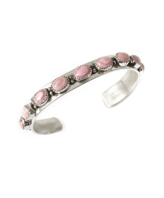 Sterling silver & rhodochrosite bracelet by Rose Swett (Navajo)