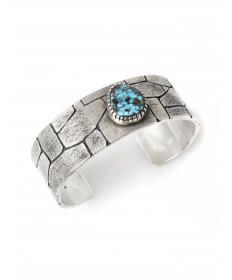 Sterling silver & turquoise bracelet by Kee Yazzie (Navajo)