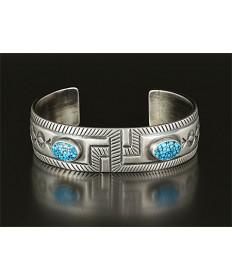 Silver & Turquoise Bracelet by Allison Lee (Navajo)
