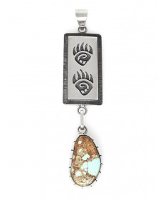 Sterling silver pendant with Kingman turquoise by Louie Josytewa (Hopi)