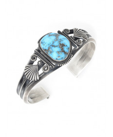 Sterling Silver & Morenci Turquoise Bracelet by Steve Arviso (Navajo)