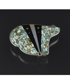 Silver and Multi-Stone Inlay Belt Buckle by Jimmy Poyer (Navajo)
