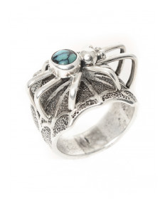 Spider ring with turquoise by Fidel Bahe (Navajo)