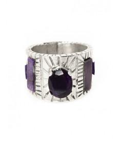 Sterling silver & sugilite ring by Osavio Crespin (Santo Domingo)