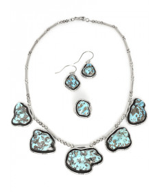 Godber Turquoise Necklace, Earrings & Ring Set by E. Begay (Navajo)