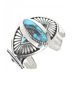 Sterling Silver Bracelet with Turquoise by Michael Perry (Navajo)