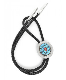 Sterling Silver Bolo Tie with Turquoise by Charlene Reano (San Felipe)