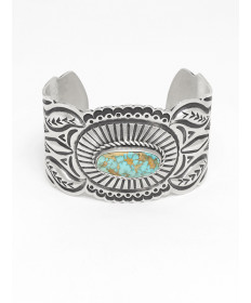 Sterling Silver Bracelet with Turquoise by Arnold Blackgoat (Navajo)