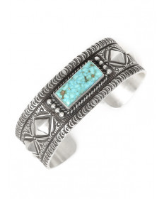 Sterling silver & turquoise bracelet by Herman Smith (Navajo)