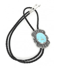 Sterling Silver Bolo Tie with Turquoise by J. Begay (Navajo)