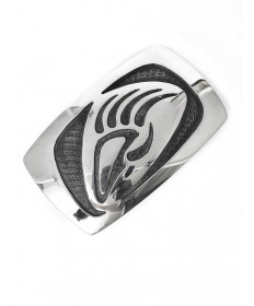Sterling silver badger claw belt buckle by Anderson Koinva (Hopi)