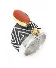 14K/sterling silver/coral ring by Steve LaRance (Hopi)